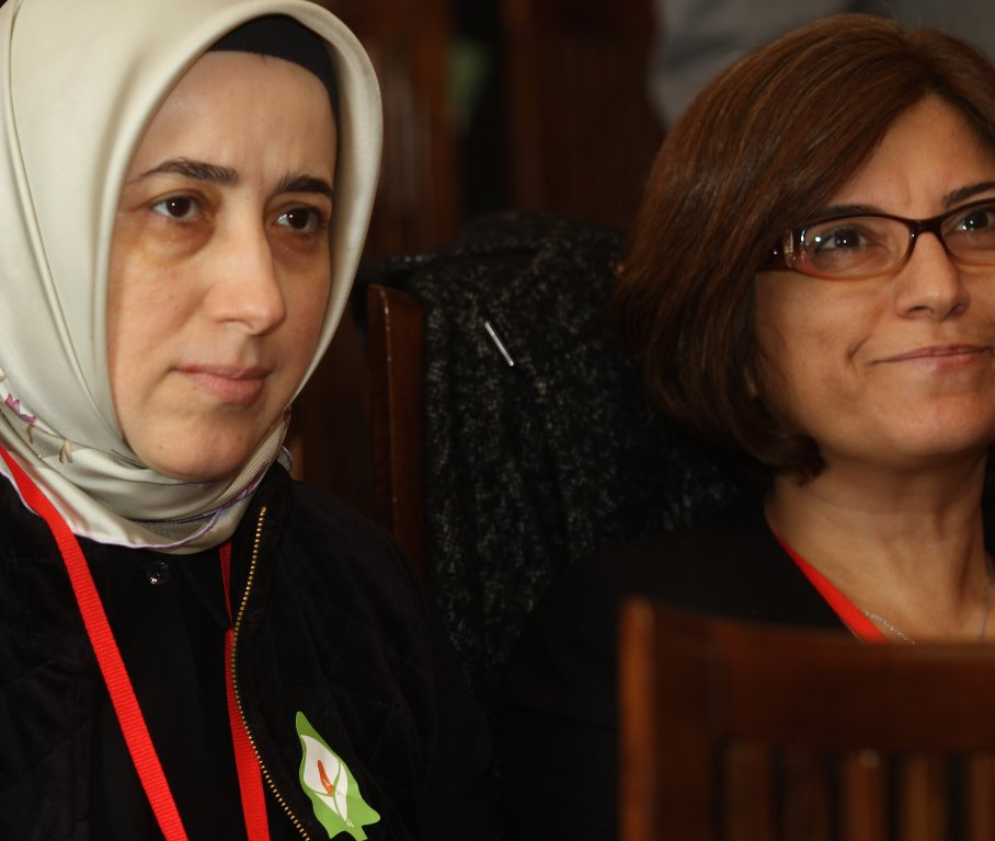 Ms Özlem Zengin and Ms Sevtap Yokuş watch the Easter Rising Commemoration at the Stormont House.