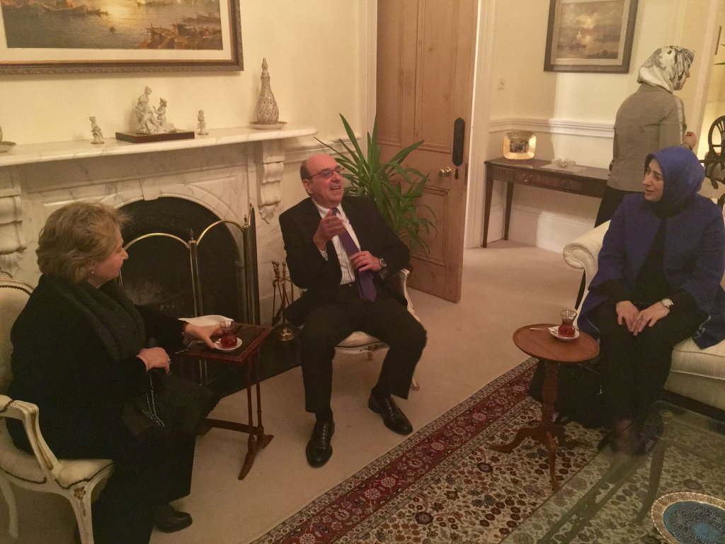 His Excellency Turkish Ambassador to Ireland, Necip Egüz talks with DPI participants Kezban Hatemi and Özlem Zengin