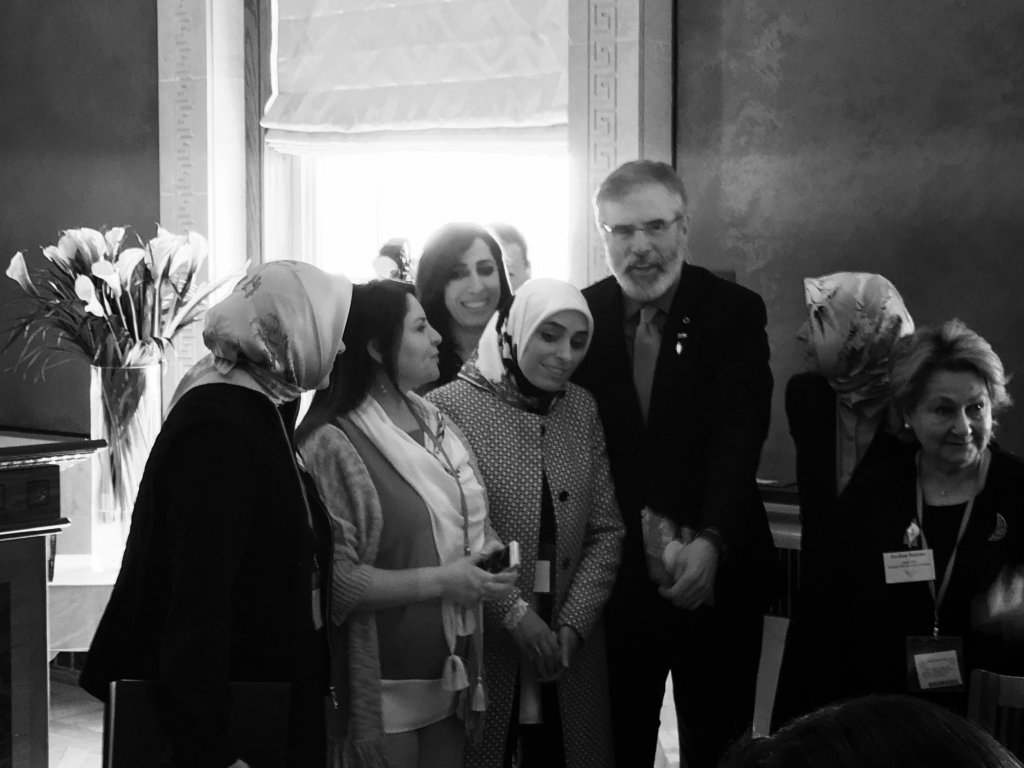 Mr Gerry Adams at the Easter Rising Commemoration with DPI participants: Ms Özlem Zengin, Ms Fadime Özkan, Ms Nurcan Baysal, Ms Zehra Taşkesenlioğlu, Ms Ayşe Koytak and Ms Kezban Hatemi.