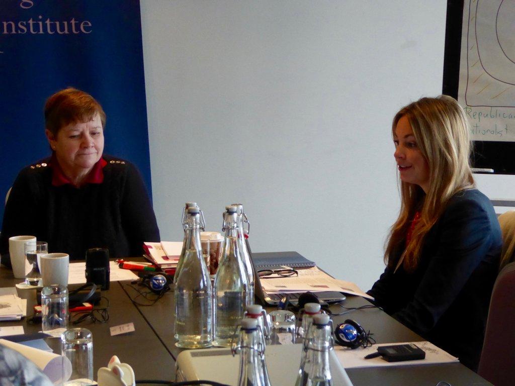 Avila Kilmurray and DPI Programmes Director Eleanor Johnson at a meeting at the Gibson Hotel in Dublin.