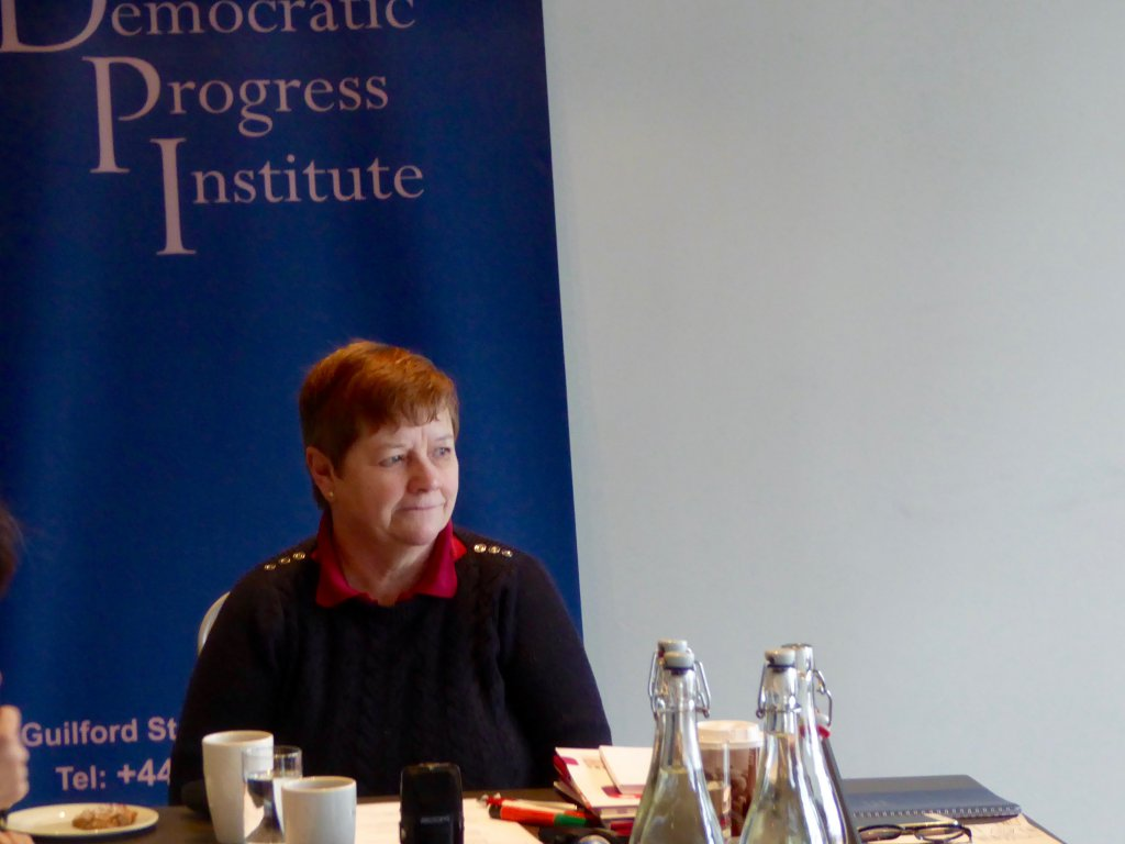 Avila Kilmurray at the Gibson Hotel in Dublin speaking about the role of the Northern Ireland Women's Coalition in the Northern Ireland peace process.