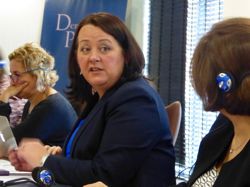 Ms Paula Bradley, DUP MLA, answers participant questions at a meeting in the Europa Hotel in Belfast.