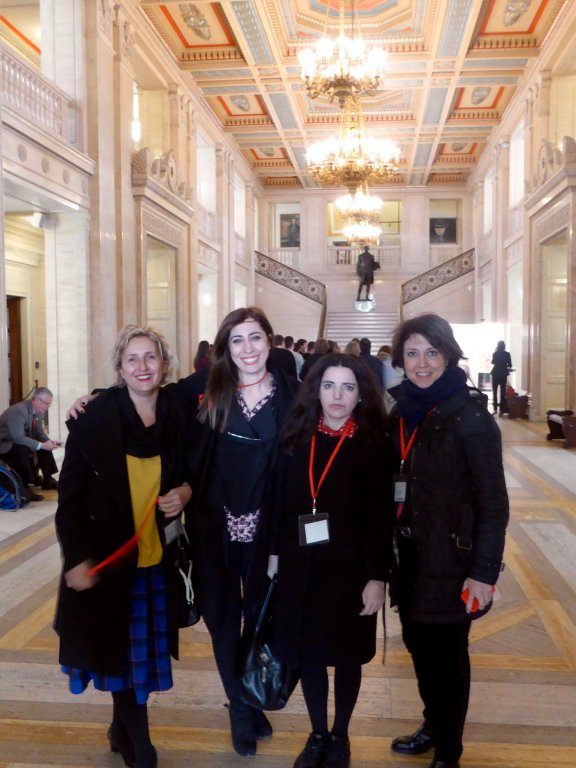 Ms Melda Onur, Ms Nurcan Baysal, Ms Bejan Matur and Ms Gülseren Onanç at the Stormont House in Belfast.