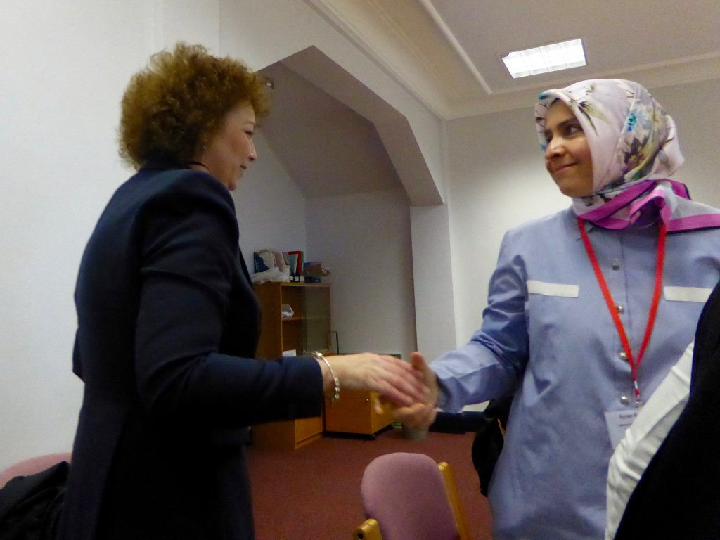 Ms Carál Ní Chuilín shakes hands with Ms Ayşe Kotak after the meeting at Stormont House.