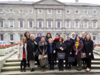 DPI participants at the Leinster House in Dublin with Caroline Kirby of the Irish Department of Foreign Affairs and Eleanor Johnson, Director of Programmes for DPI.