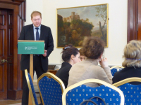 Mr James Kelly of the Irish Department of Foreign Affairs addresses participants on Ireland's National Action Plan for Women, Peace and Security, UNSCR 1325 at the Iveagh House in Dublin.