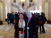 Ms Fadime Özkan and Ms Ayşe Koytak at the Stormont House in Belfast.