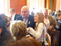 DPI Programmes Director Eleanor Johnson speaks with Sinn Fein representatives at Stormont House.
