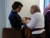 Ms Jane Morrice speaks with Ms Gülseren Onanç at the Europa Hotel in Belfast.
