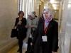 Ms Ayşe Koytak, Ms Sevtap Yokuş and Ms Zehra Taşkesenlioğlu walk to a meeting with Sinn Fein MLAs at Stormont House.