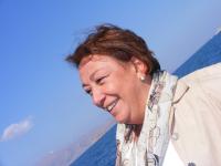 Nese Akkerman of the British Embassy in ankara on the boat to Akdamar Island