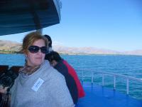 Esra Nurel on the boat to Akdamar Island