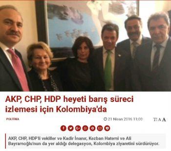 AKP, CHP, HDP heyeti barış süreci izlemesi için Kolombiya'da